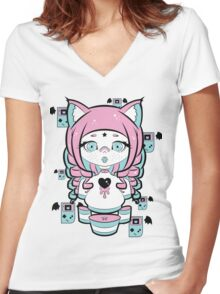 Creamy Kitty Women's Fitted V-Neck T-Shirt