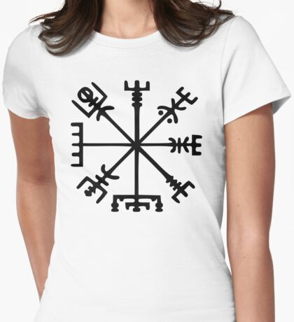 Vegvísir (Viking Compass) Womens Fitted T-Shirt