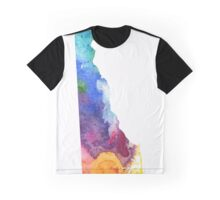 Watercolor Map of Delaware, USA in Rainbow Colors - Giclee Print of My Own Watercolor Painting Graphic T-Shirt