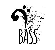 Bass Clef Music Notes Abstract Photographic Print