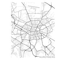 Nuremberg Map, Germany - Black and White Photographic Print