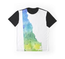 Watercolor Map of Delaware, USA in Blue and Green - Giclee Print of My Own Watercolor Painting Graphic T-Shirt