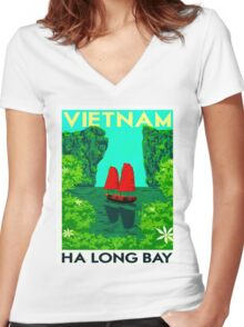 """VIETNAM"" Vintage Ha Long Bay Travel Print Women's Fitted V-Neck T-Shirt"