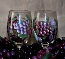 Hand Painted Wine Glasses, Grapes & More Grapes Sticker