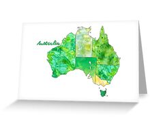 Watercolor Countries - Australia Gold/Green Greeting Card