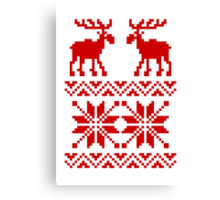 Moose Pattern Christmas Sweater Canvas Print
