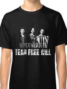 Supernatural Team Free Will White silhouette Classic T-Shirt