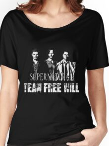 Supernatural Team Free Will White silhouette Women's Relaxed Fit T-Shirt