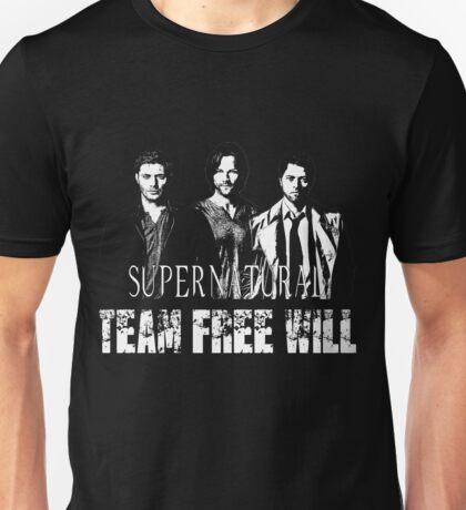 Supernatural Team Free Will White silhouette Unisex T-Shirt