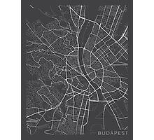 Budapest Map, Hungary - Gray Photographic Print