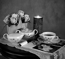 Reading and Coffee Time Black and White by Sherry Hallemeier