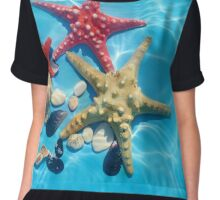 Blue water with starfishes and seashells Chiffon Top