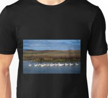 white pelicans in the Baylands Unisex T-Shirt