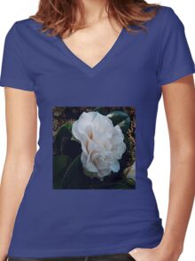 Camellia Japonica Women's Fitted V-Neck T-Shirt