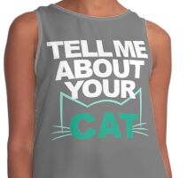 Tell Me About Your Cat (Teal) Contrast Tank