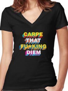Carpe that fu*king diem Women's Fitted V-Neck T-Shirt