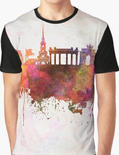 Saint Petersburg skyline in watercolor background Graphic T-Shirt