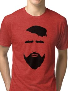 Bearded Man Face. Hipster Style. Tri-blend T-Shirt