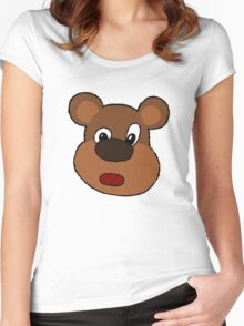 Cute Cartoon Bear Face Women's Fitted Scoop T-Shirt