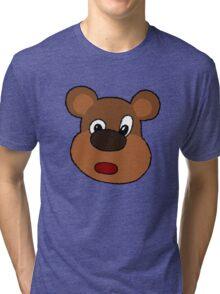 Cute Cartoon Bear Face Tri-blend T-Shirt