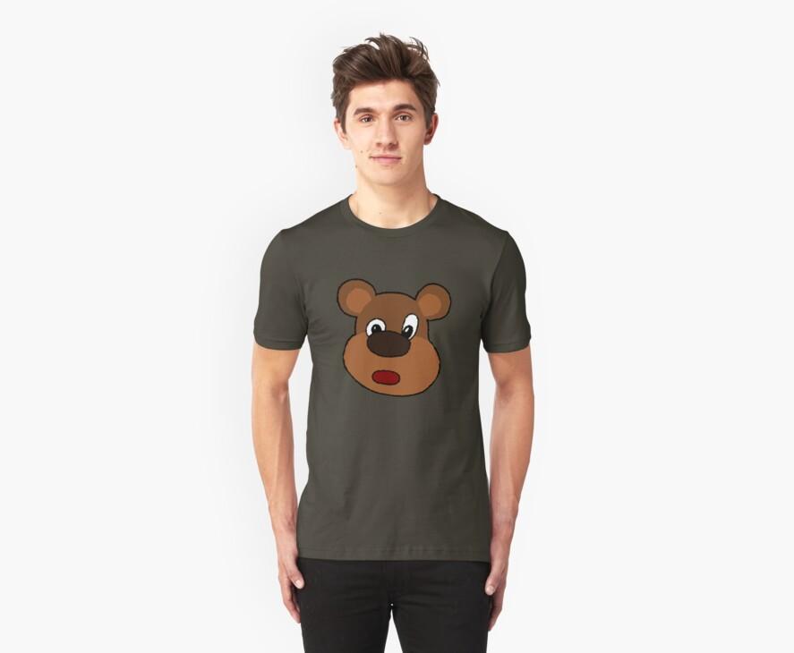 Cute Cartoon Bear Face by mdkgraphics