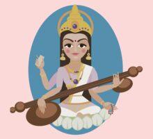Hindu Goddess Saraswati. Vector hand drawn illustration. Kids Tee