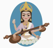Hindu Goddess Saraswati. Vector hand drawn illustration. Kids Tee