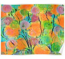 Abstract Colorful Spring Flowers Poster