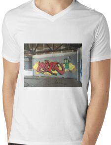 Selfie Red Graffiti in Funky Town Mens V-Neck T-Shirt