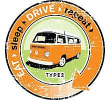 Eat Sleep Drive Repeat orange green grunge Photographic Print