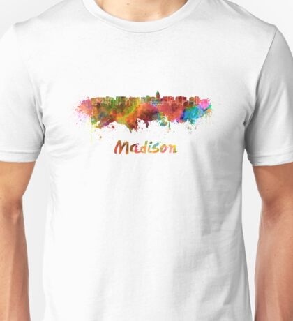 Madison skyline in watercolor Unisex T-Shirt