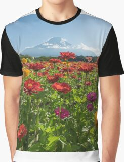Zinnias for Mt. Fuji Graphic T-Shirt