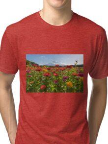 Zinnias for Mt. Fuji Tri-blend T-Shirt