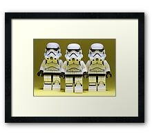 Lego Storm Troopers on Yellow Framed Print