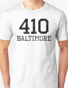 Distressed Baltimore 410 Area Code T-Shirt