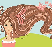 Girl with long beautiful hair by Tatsiana Kandrashova
