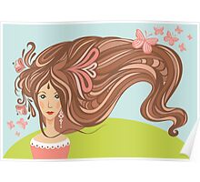 Girl with long beautiful hair Poster