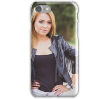 smiling blond woman in old town at sunny day iPhone Case/Skin