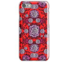 Climbing Roses red and pink mirror pattern  iPhone Case/Skin