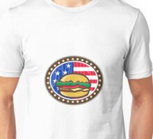 American Cheeseburger USA Flag Oval Cartoon Unisex T-Shirt