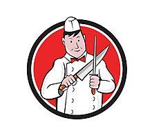 Butcher Sharpening Knife Circle Cartoon Photographic Print