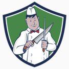 Butcher Sharpening Knife Crest Cartoon by patrimonio