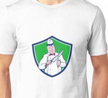 Butcher Sharpening Knife Crest Cartoon Unisex T-Shirt