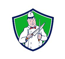 Butcher Sharpening Knife Crest Cartoon Photographic Print