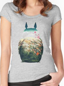 Totoro And Nature Women's Fitted Scoop T-Shirt