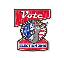 Vote Election 2016 Democrat Donkey Mascot Cartoon Photographic Print