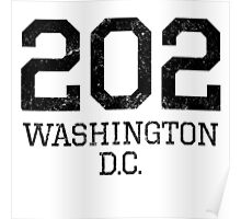 Distressed Washington DC 202 Area Code Poster