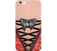 Female Back Black Vintage Damask Lace Corset Lingerie  iPhone Case/Skin