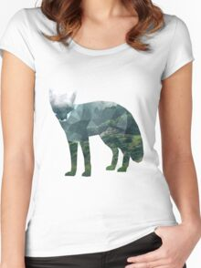 Low Poly Fox, Forest Women's Fitted Scoop T-Shirt