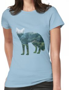 Low Poly Fox, Forest Womens Fitted T-Shirt